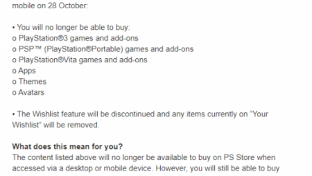 PlayStation Store Will No Longer Offer PS3, PS Vita, And PSP Games Online And Mobile